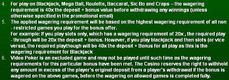 Giant Vegas current terms